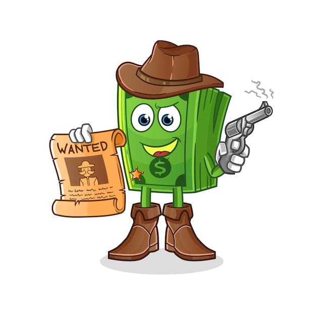 Поп-кукуруза ковбой держит пистолет и хочет плакат иллюстрации. характер Premium векторы