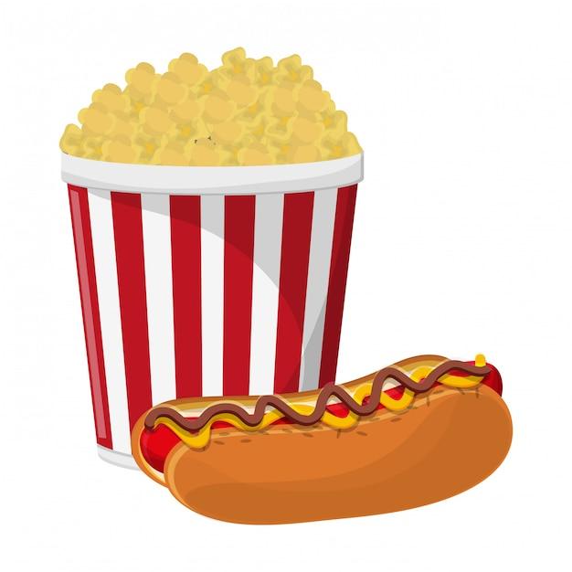 Pop corn cup and hot dog Premium Vector