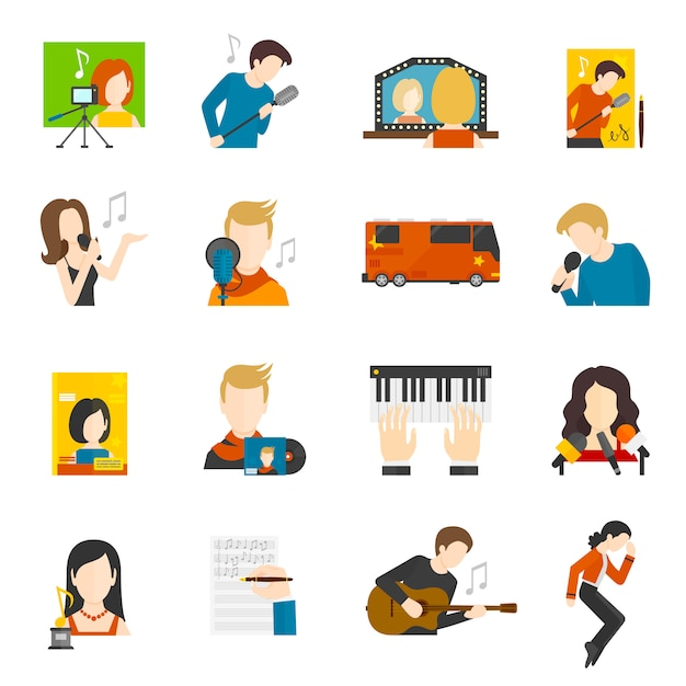 Pop singer flat icons set Free Vector