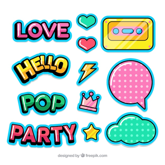 Pop Stickers Collection Vector Free Download