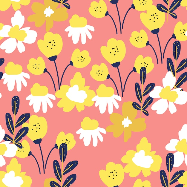Pop style floral seamless pattern Premium Vector