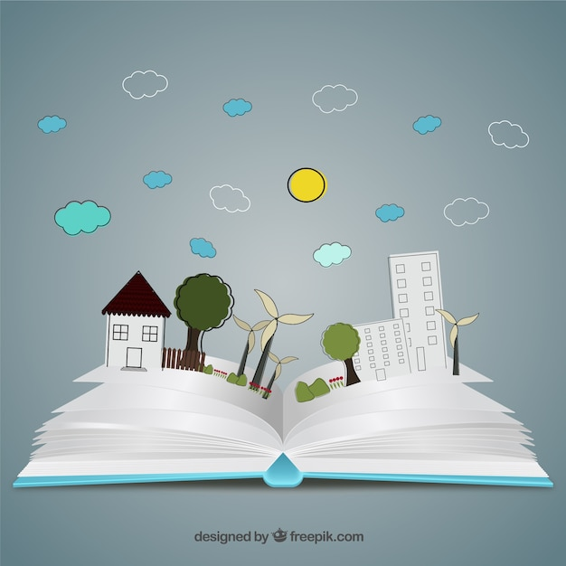 pop up book in hand drawn style vector free download