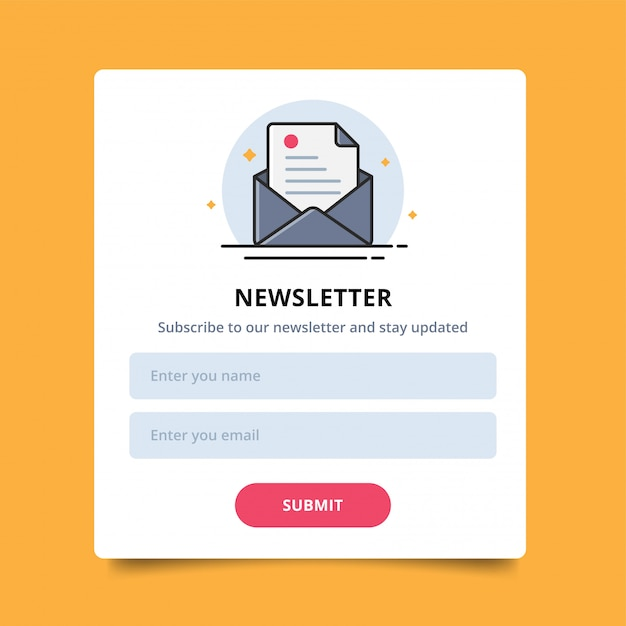 Pop up letter icon for online newsletter orders purchases, user interface and submit. Premium Vector