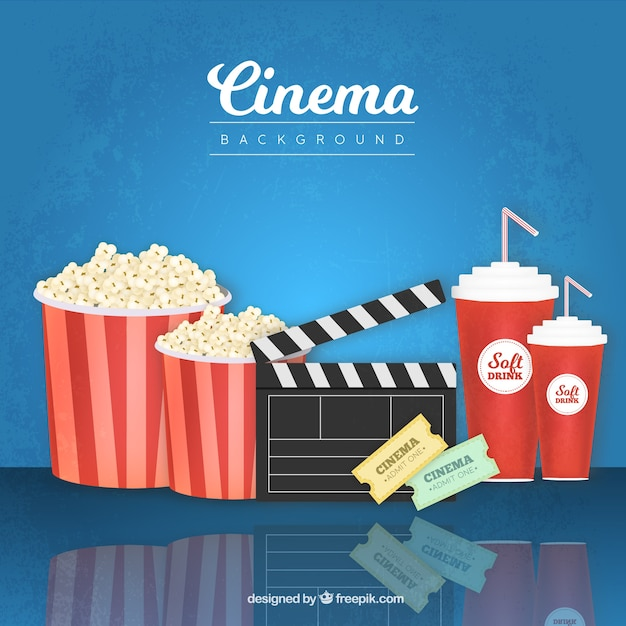 Popcorn Wallpaper: Popcorn Background With Clapper And Other Movie Elements