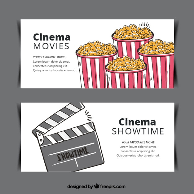 Popcorn banners and hand drawn clapper Free Vector