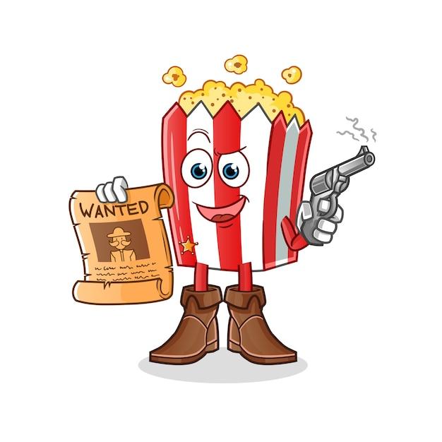 Попкорн мультфильм талисман ковбой держит пистолет и разыскивается плакат Premium векторы