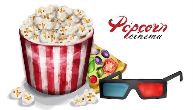 Popcorn and cinema glasses watercolor Premium Vector