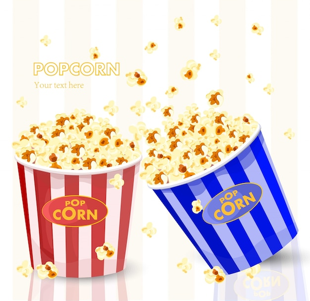 Popcorn in red and blue striped bucket boxes Premium Vector