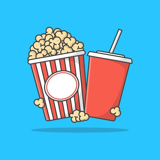 Полосатое ведро для попкорна с иллюстрацией значка чашки содовой. кино фильм плоский значок Premium векторы