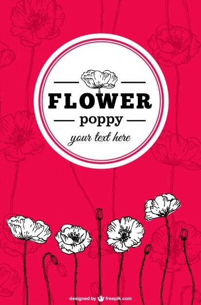 Poppy flowers vector Free Vector