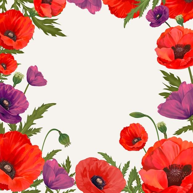 Poppy framed background Free Vector