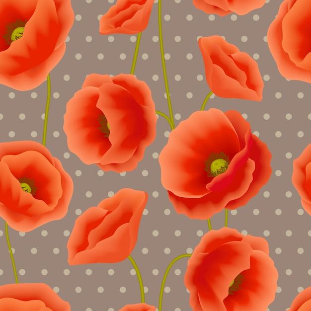 Poppy seamless pattern Free Vector