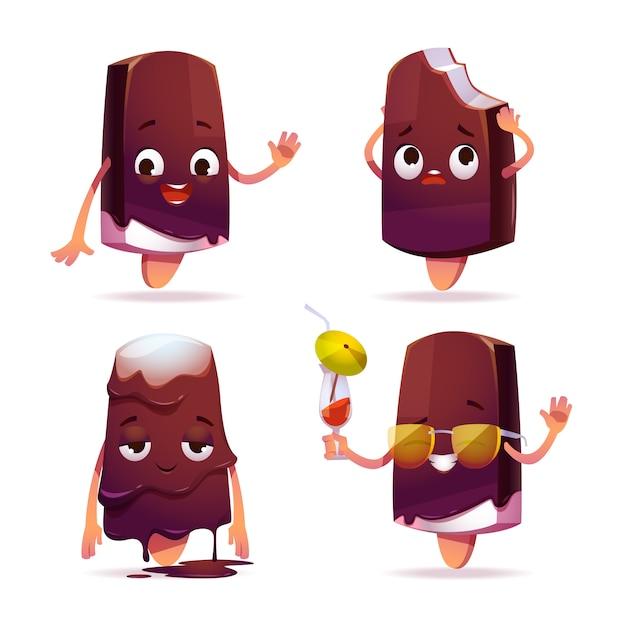 Popsicle ice cream character, funny eskimo pie Free Vector