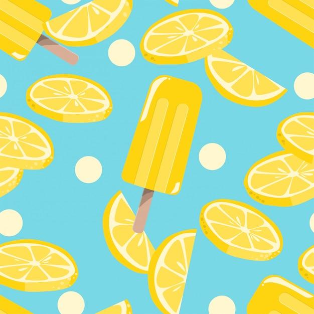 Popsicles ice-cream seamless pattern. Premium Vector