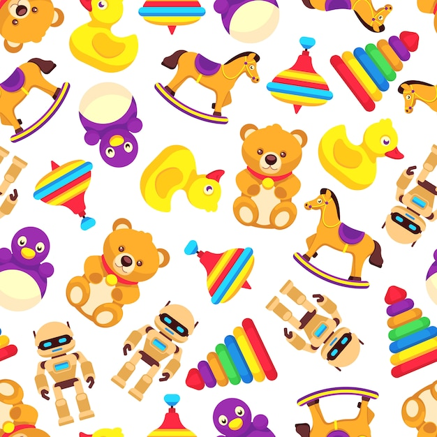 Popular baby toys seamless pattern Premium Vector
