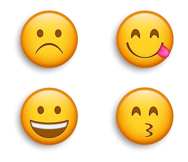 人気の絵文字-幸せなニヤリと笑う絵文字とキッシーな絵文字、唇をなめるキャラクターとしかめっ面の悲しみの顔 Premiumベクター