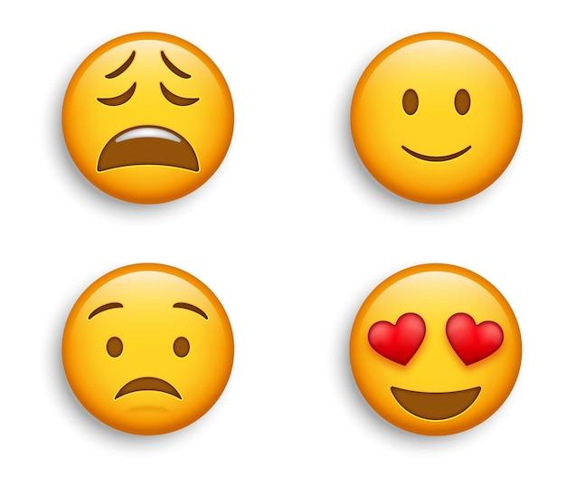 人気の絵文字-少し幸せな顔と取り乱した疲れた、心配している絵文字でハートの目で笑顔の絵文字 Premiumベクター