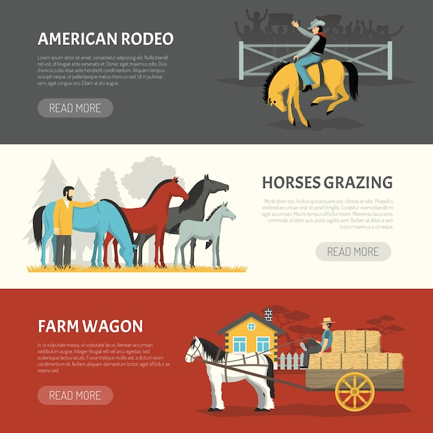 Popular horses breeds horizontal banners set Free Vector