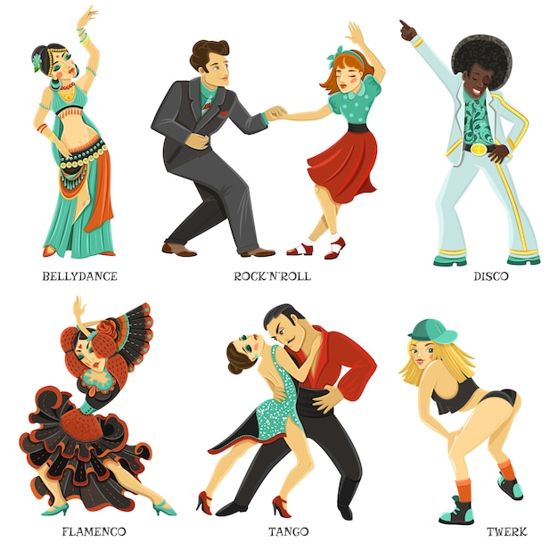 Popular native dance flat icons set Free Vector