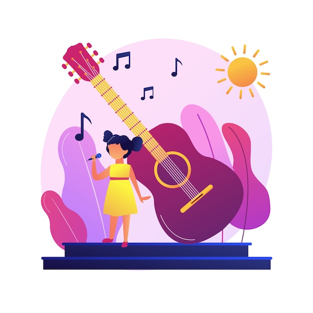Popular singer in solo performance. acoustic instrumental music. disco night, jazz festival, rock concert. live band show. nightlife event.    . Free Vector
