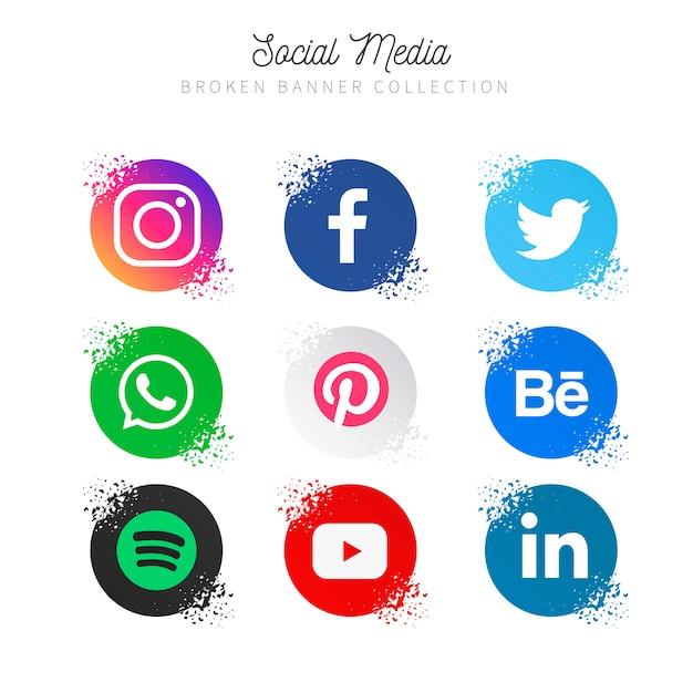 Popular social media collection Free Vector