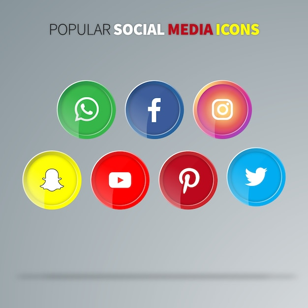 Popular social media icons Premium Vector