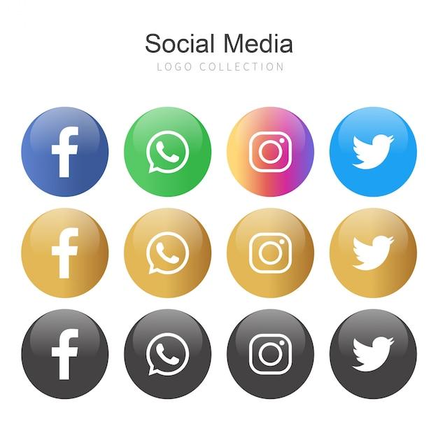 Popular social media logo collection in circles Premium Vector