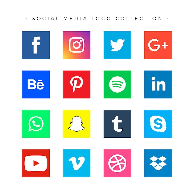 Popular social media logo collection Free Vector