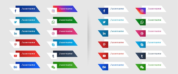Popular social media lower third banners template Free Vector