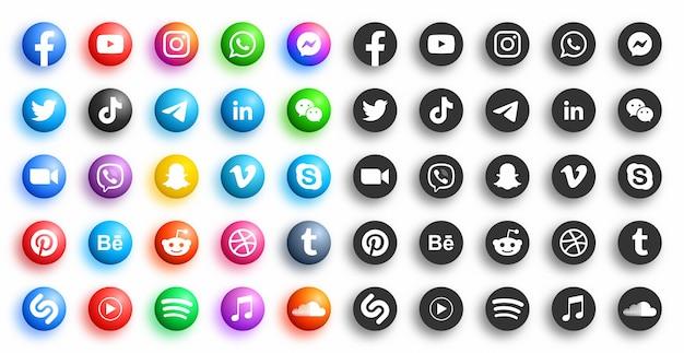 Популярные социальные медиа сети современные d круглые значки в различных вариациях на белом фоне Premium векторы