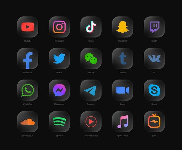 인기있는 소셜 미디어 네트워크 현대 둥근 검은 웹 아이콘 세트 프리미엄 벡터