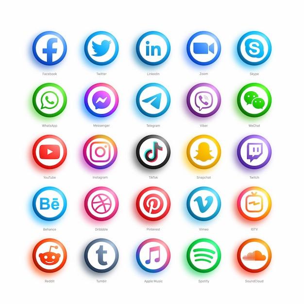 인기있는 소셜 미디어 네트워크 라운드 웹 아이콘 현대 3d 스타일 설정 프리미엄 벡터