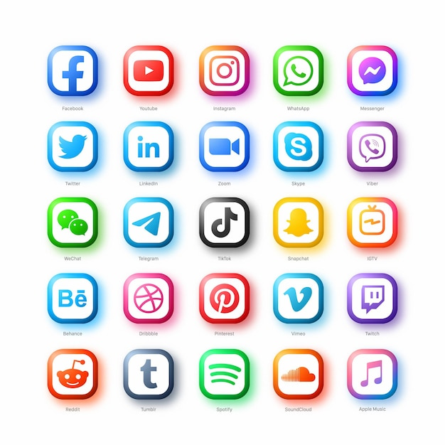 인기있는 소셜 미디어 네트워크 웹 아이콘 벡터 흰색 배경에 현대적인 스타일로 설정 프리미엄 벡터