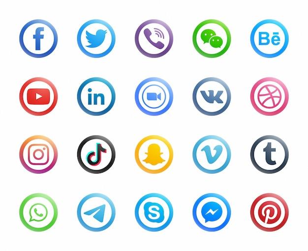 Популярные социальные медиа круглые современные иконки на белом фоне Premium векторы