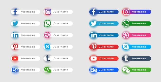 Набор иконок популярных социальных веб-сайтов в нижней трети баннеров Бесплатные векторы