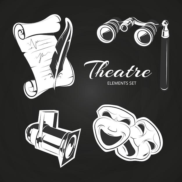 Popular theatre symbols set on chalkboard Premium Vector