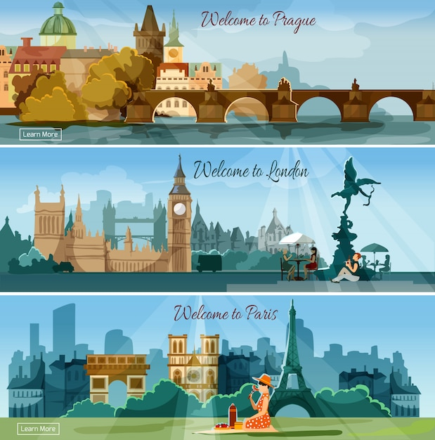 Popular touristic cities flat banners set Free Vector