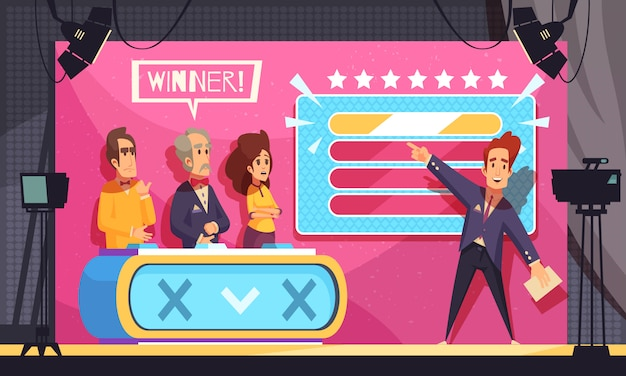 Popular tv guess word game television show final moment cartoon composition with host contestants winner Free Vector