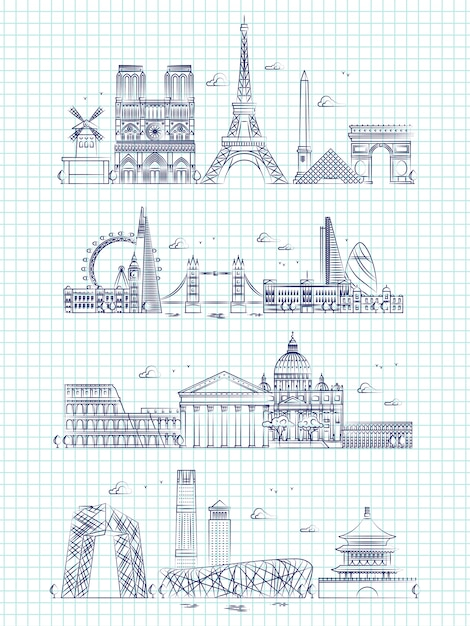 Popular word cities outline panorama on notebook page Premium Vector
