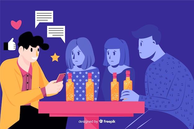 Popularity on social media killing friendships concept Free Vector