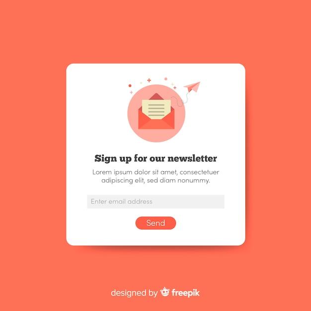 Popup banner newsletter concept Free Vector