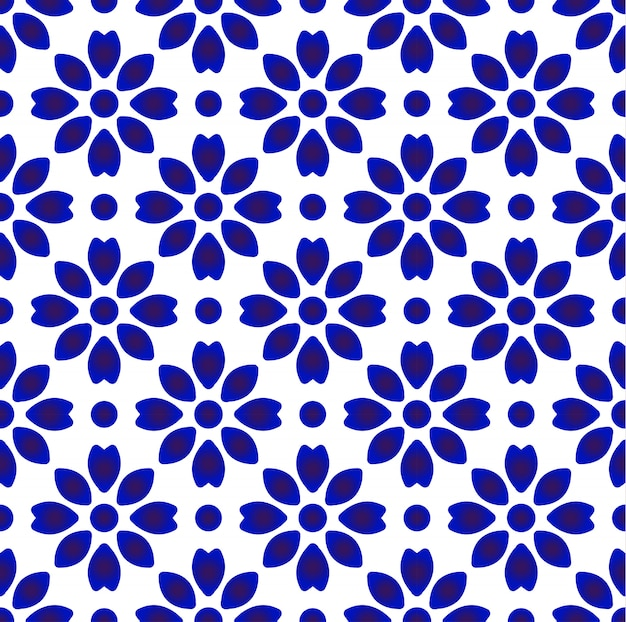 Porcelain china pattern, chinese ceramic blue and white pottery modern design, indigo wallpaper, chinaware seamless decor Premium Vector