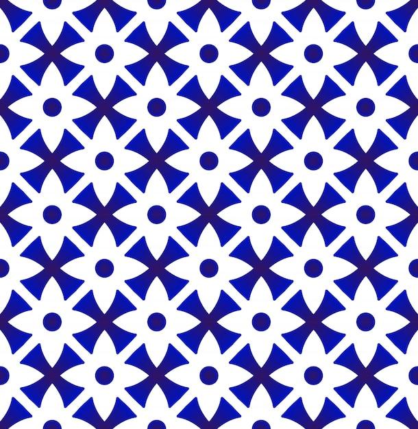 Porcelain floral pattern thai style Premium Vector