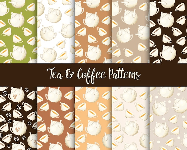 Porcelain teapot and tea cup seamless patterns set Free Vector