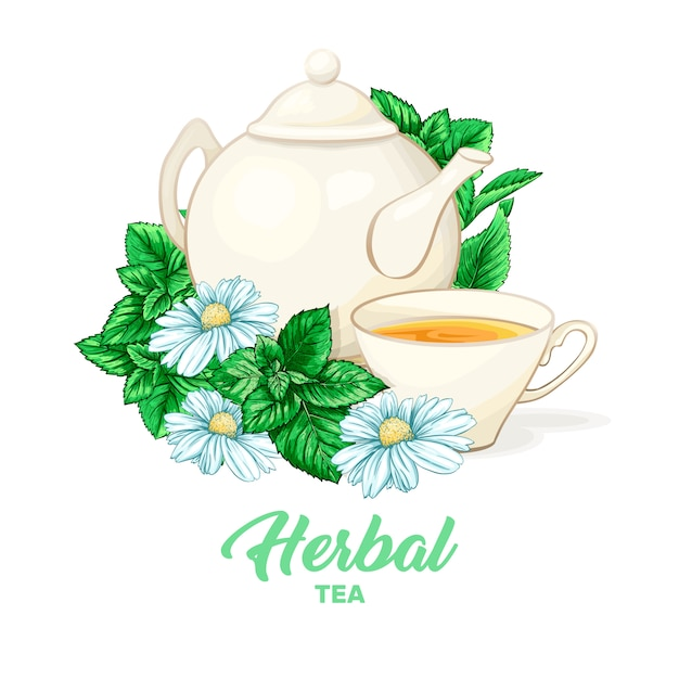 Porcelain teapot and tea cup with mint tea and leaves. Free Vector