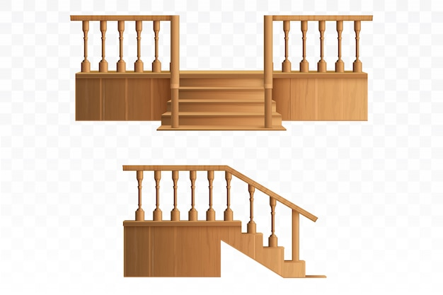Porch from wooden balustrade design elements. Free Vector