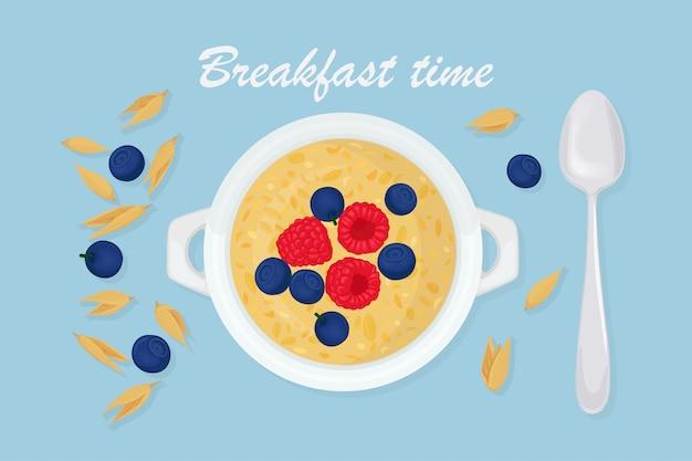 ボウルにスプーン、ベリー、ラズベリー、ナッツ、背景に穀物のお粥オート麦。ヘルシーな朝食 Premiumベクター