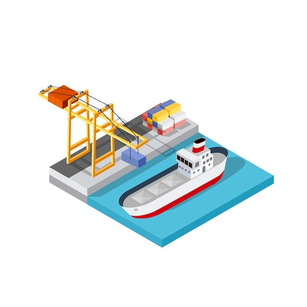 Port cargo ship transport logistics Premium Vector