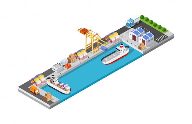 Port cargo ship transport logistics Premium Vector