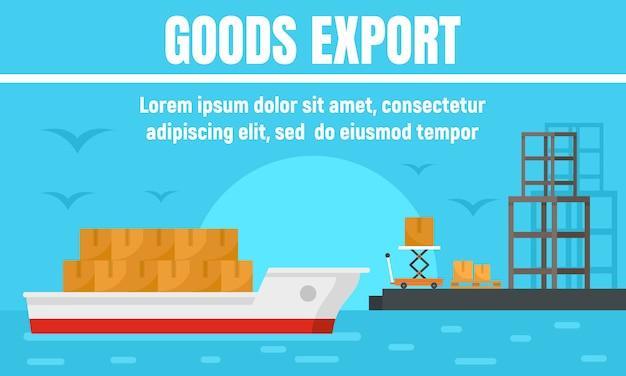 Port goods export concept banner Premium Vector